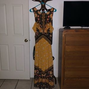 NWOT Free People Gold and Black Dress 6